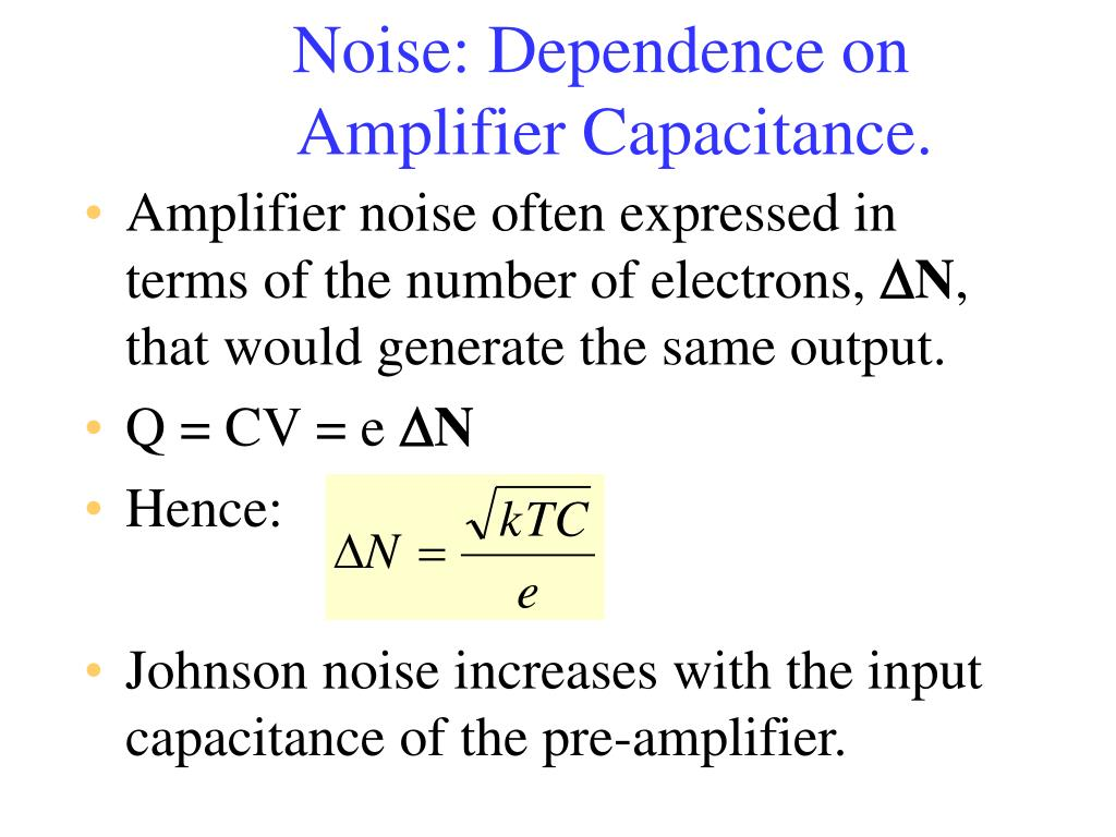 Noise: Dependence on Amplifier Capacitance.