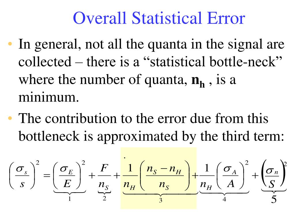 Overall Statistical Error