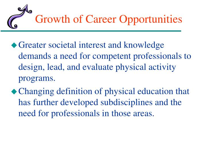Growth of career opportunities