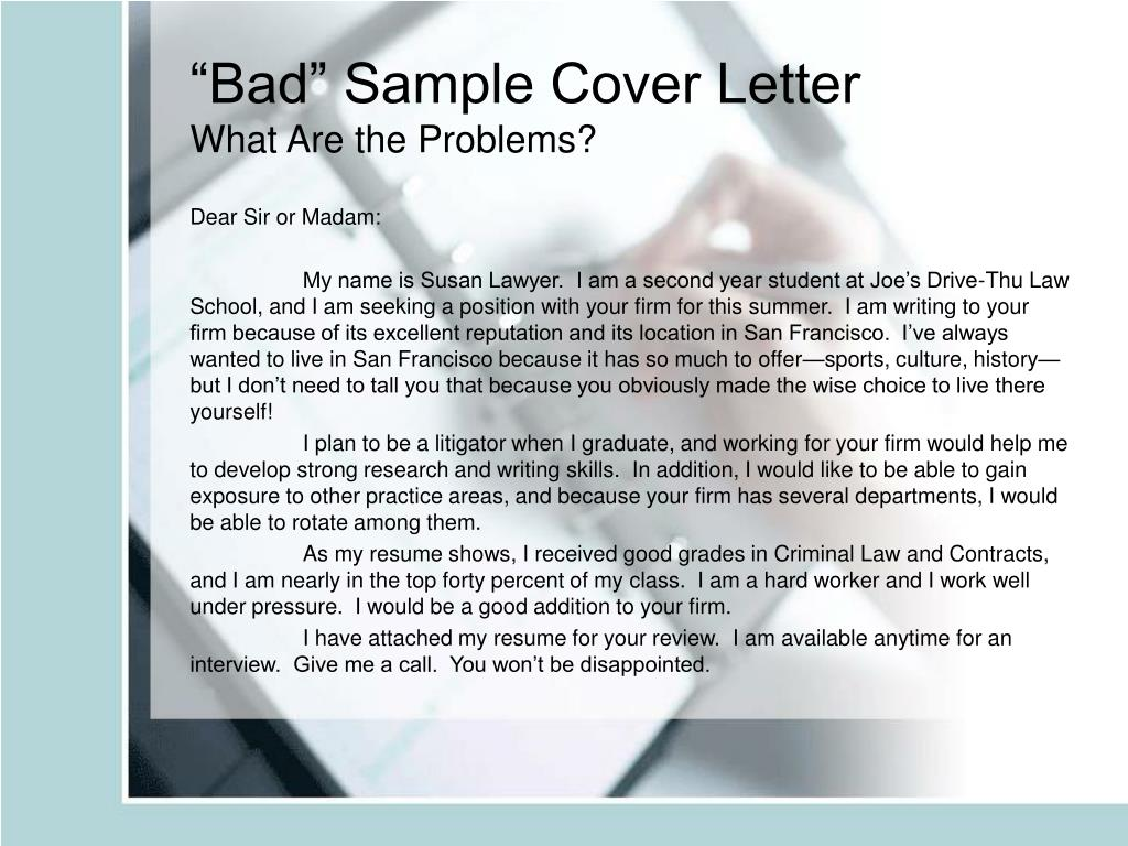 """Bad"" Sample Cover Letter"