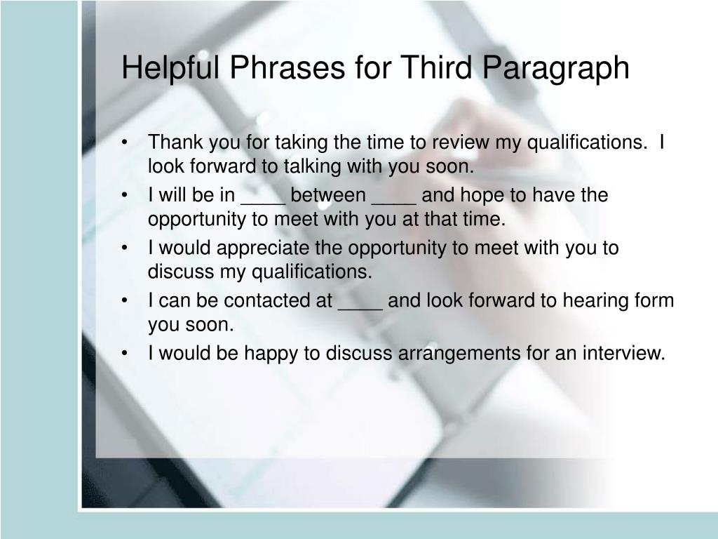 Helpful Phrases for Third Paragraph