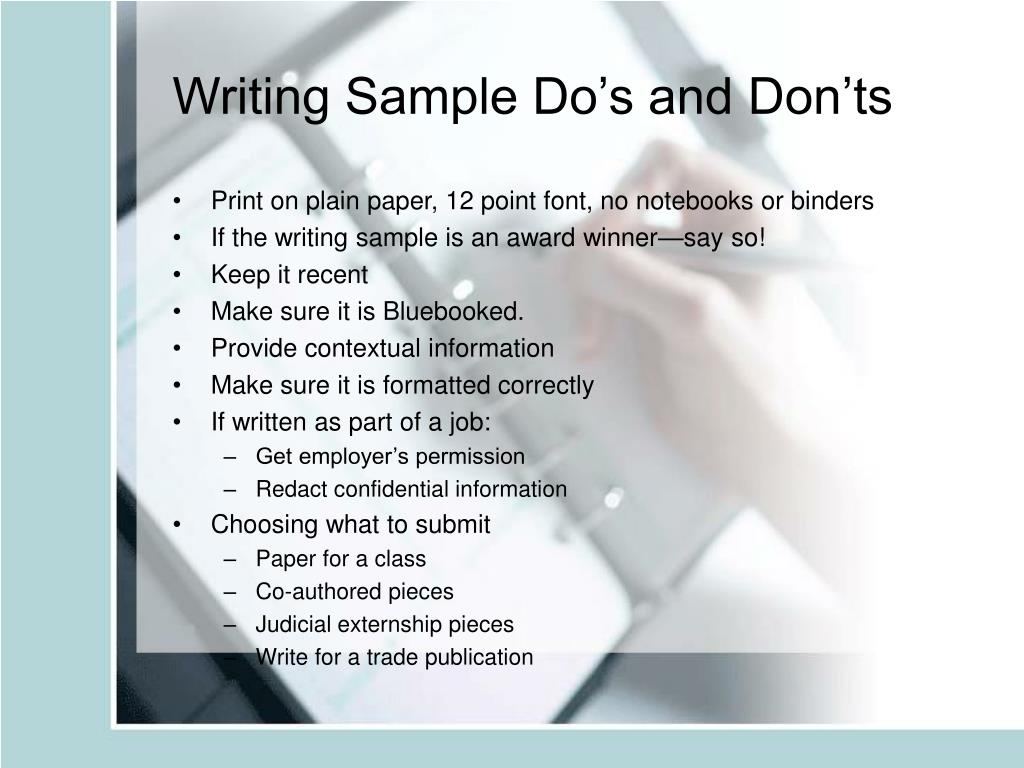 Writing Sample Do's and Don'ts