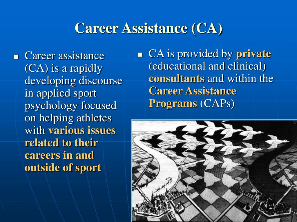 Career assistance (CA) is a rapidly developing discourse in applied sport psychology focused on helping athletes with