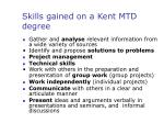 skills gained on a kent mtd degree
