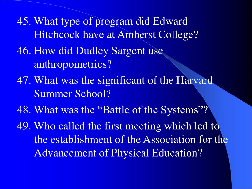 45. What type of program did Edward Hitchcock have at Amherst College?