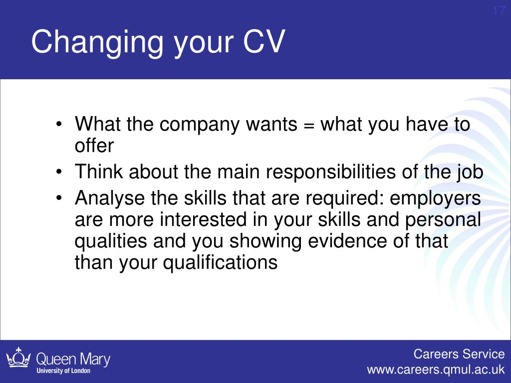 Changing your CV