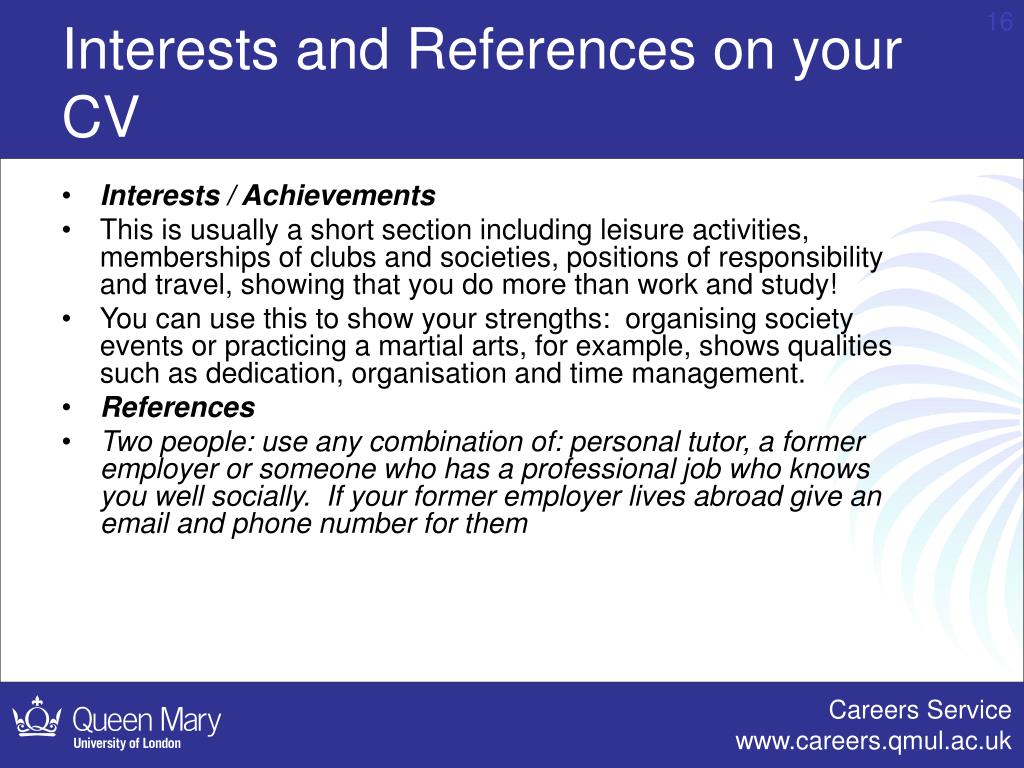 Interests and References on your CV