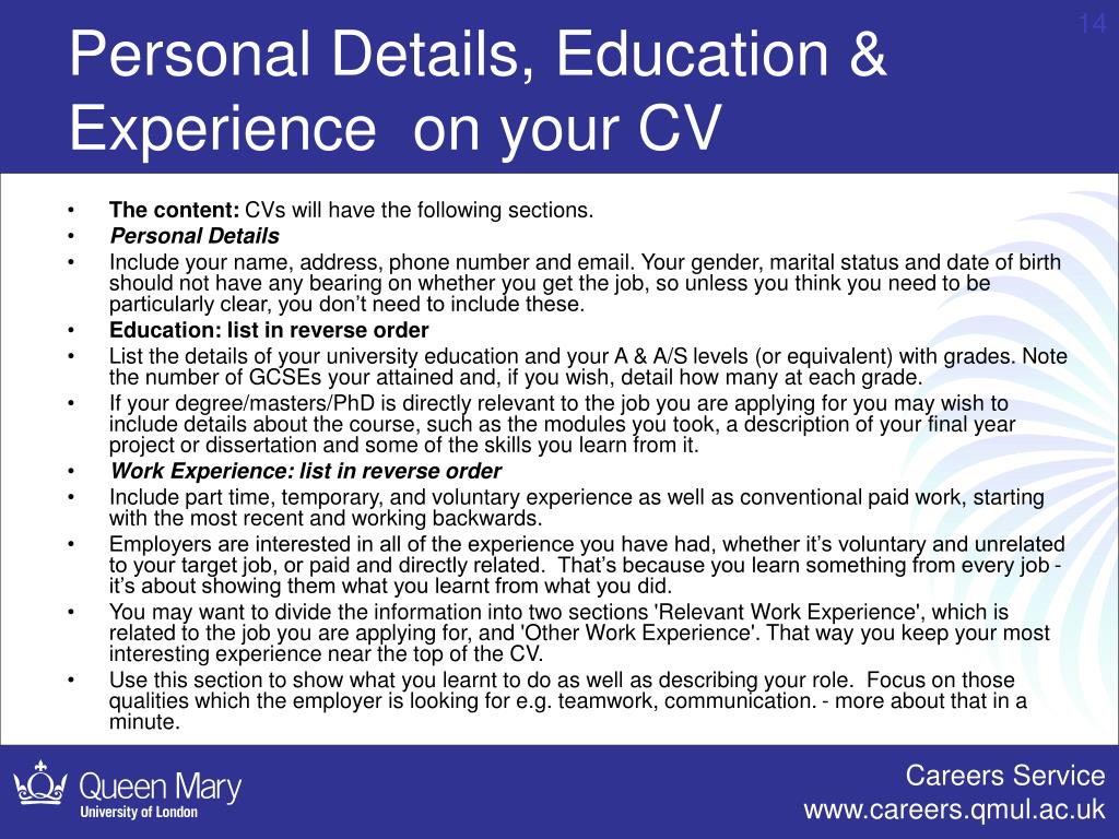 Personal Details, Education & Experience  on your CV