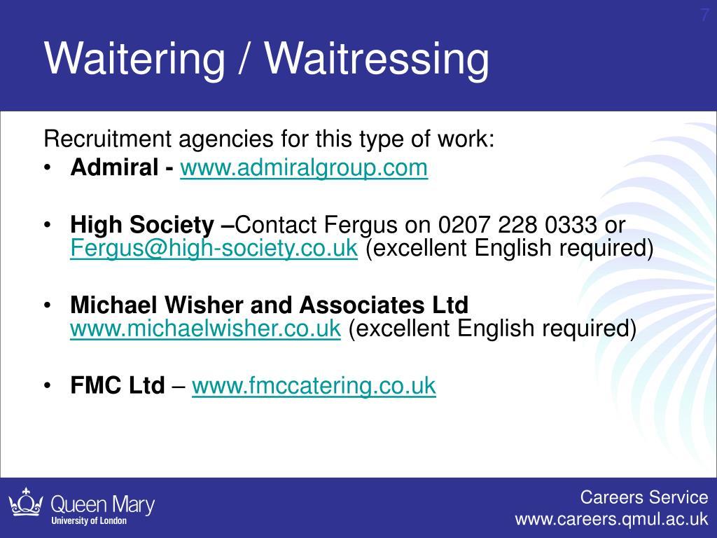 Waitering / Waitressing