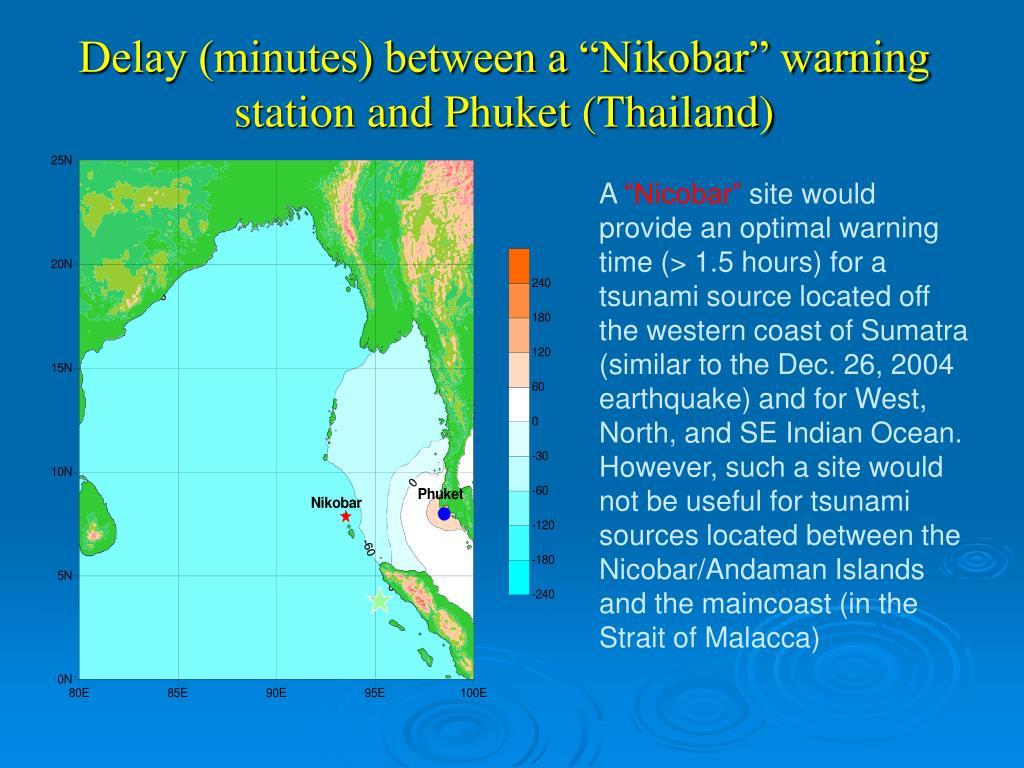 """Delay (minutes) between a """"Nikobar"""" warning station and Phuket (Thailand)"""