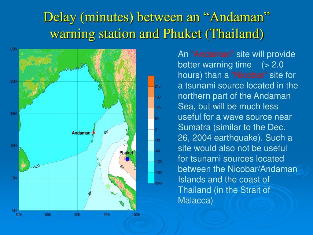 """Delay (minutes) between an """"Andaman"""" warning station and Phuket (Thailand)"""