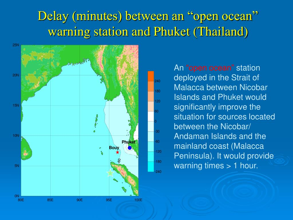 "Delay (minutes) between an ""open ocean"" warning station and Phuket (Thailand)"