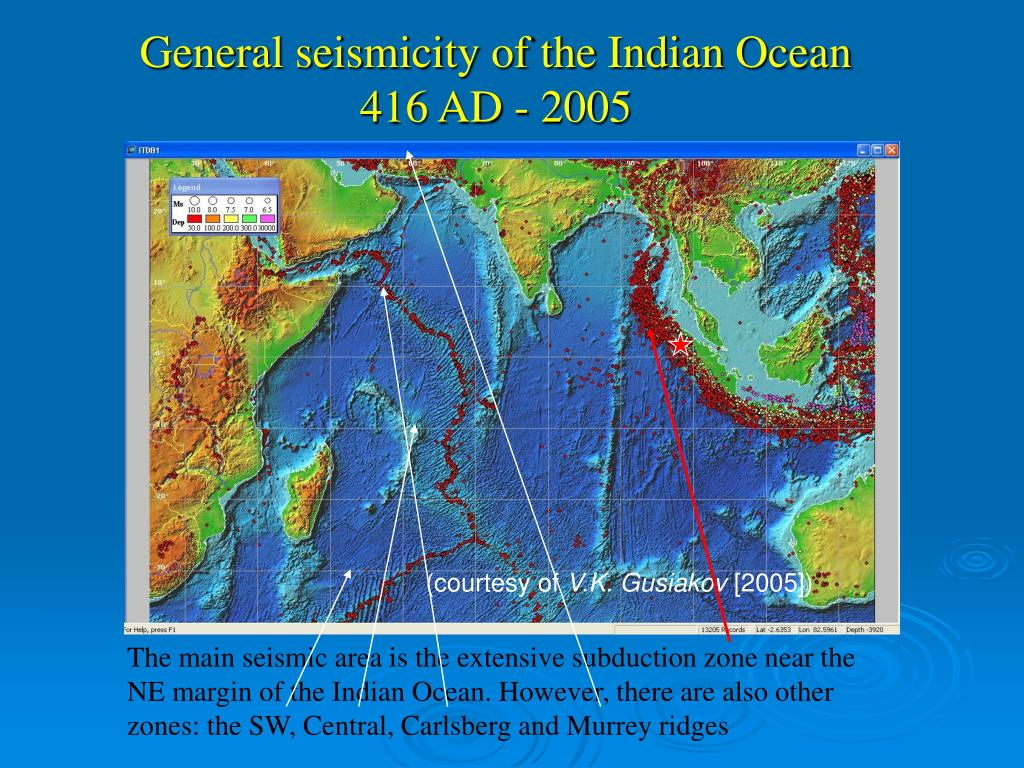General seismicity of the Indian Ocean
