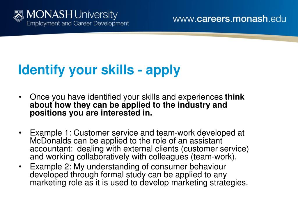 Identify your skills - apply