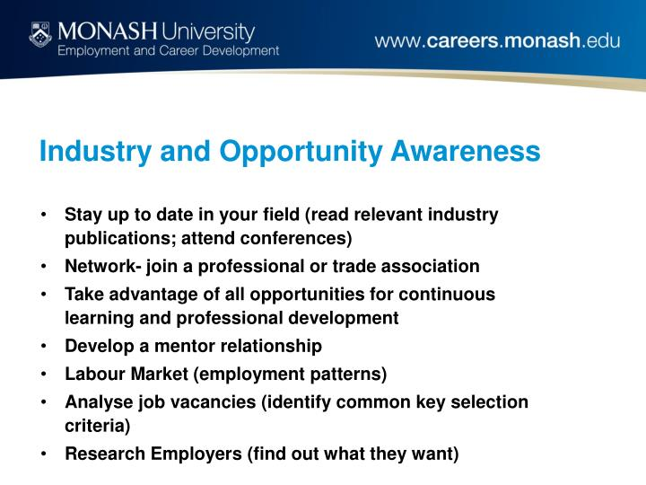 Industry and opportunity awareness