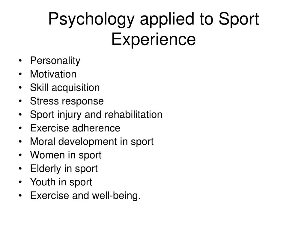 Psychology applied to Sport Experience