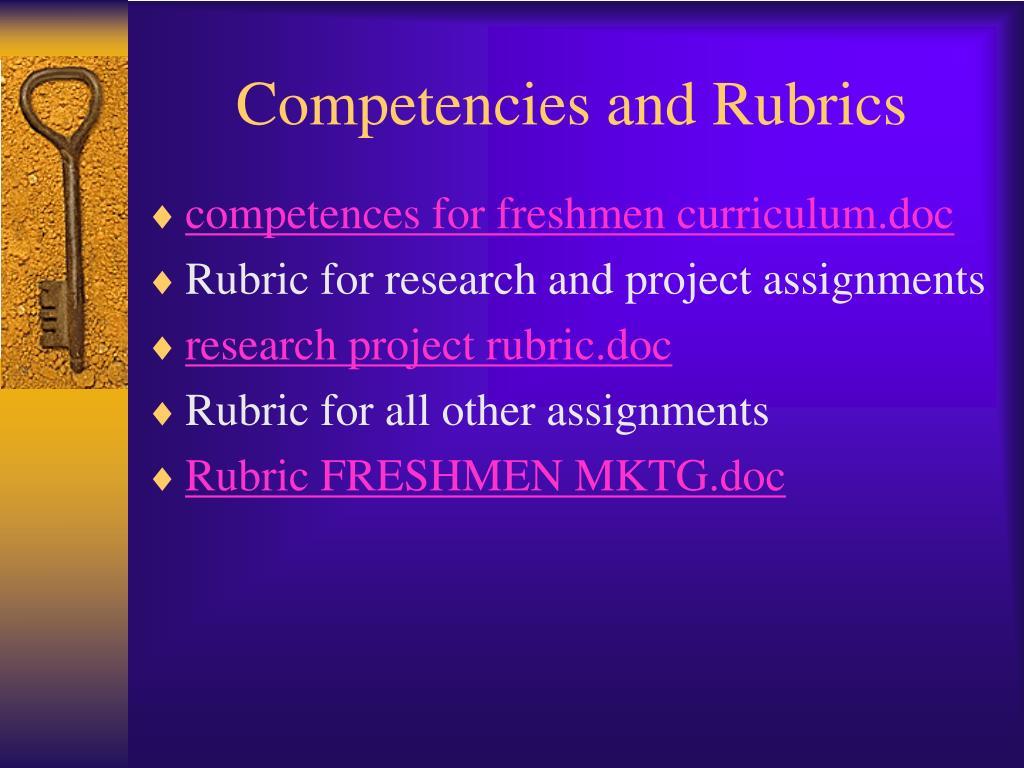 Competencies and Rubrics