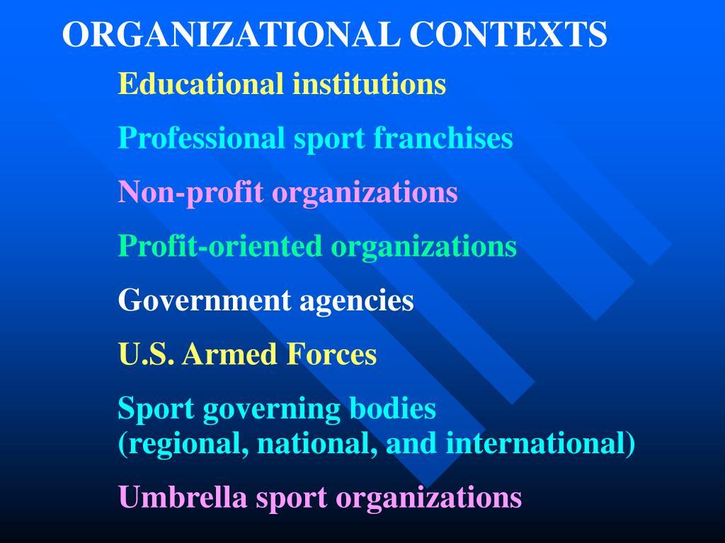 ORGANIZATIONAL CONTEXTS