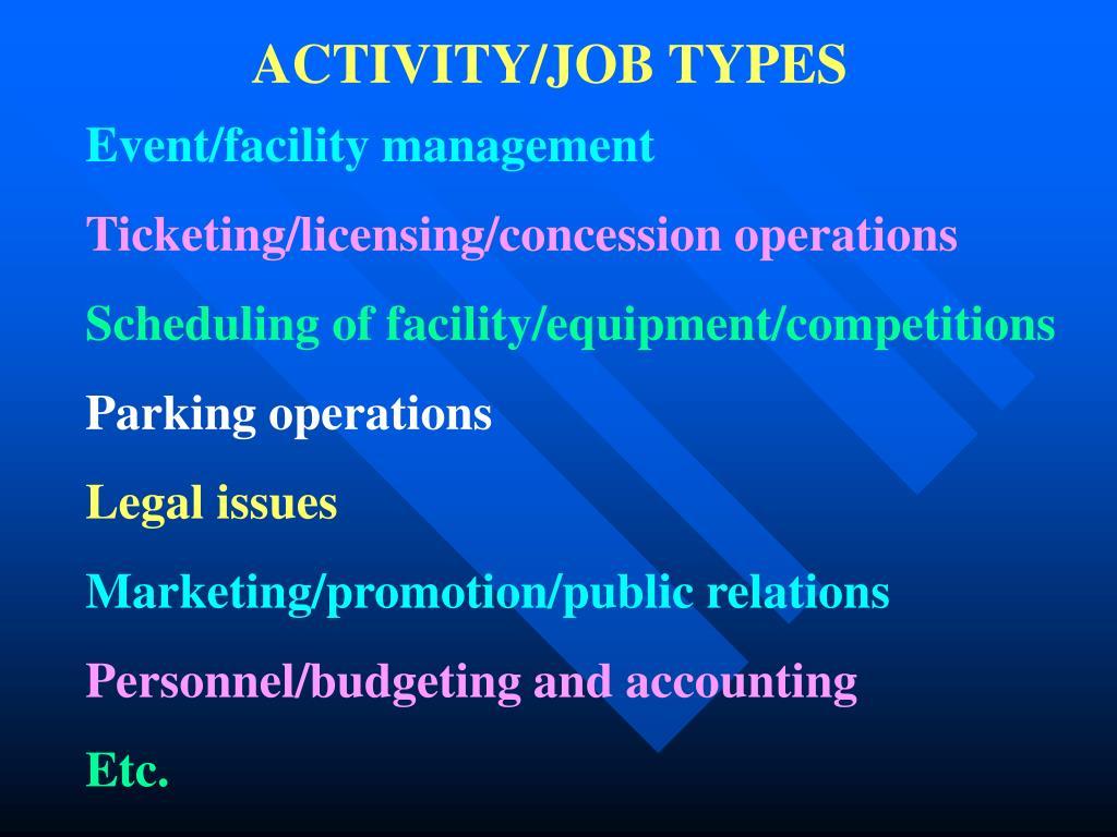 ACTIVITY/JOB TYPES