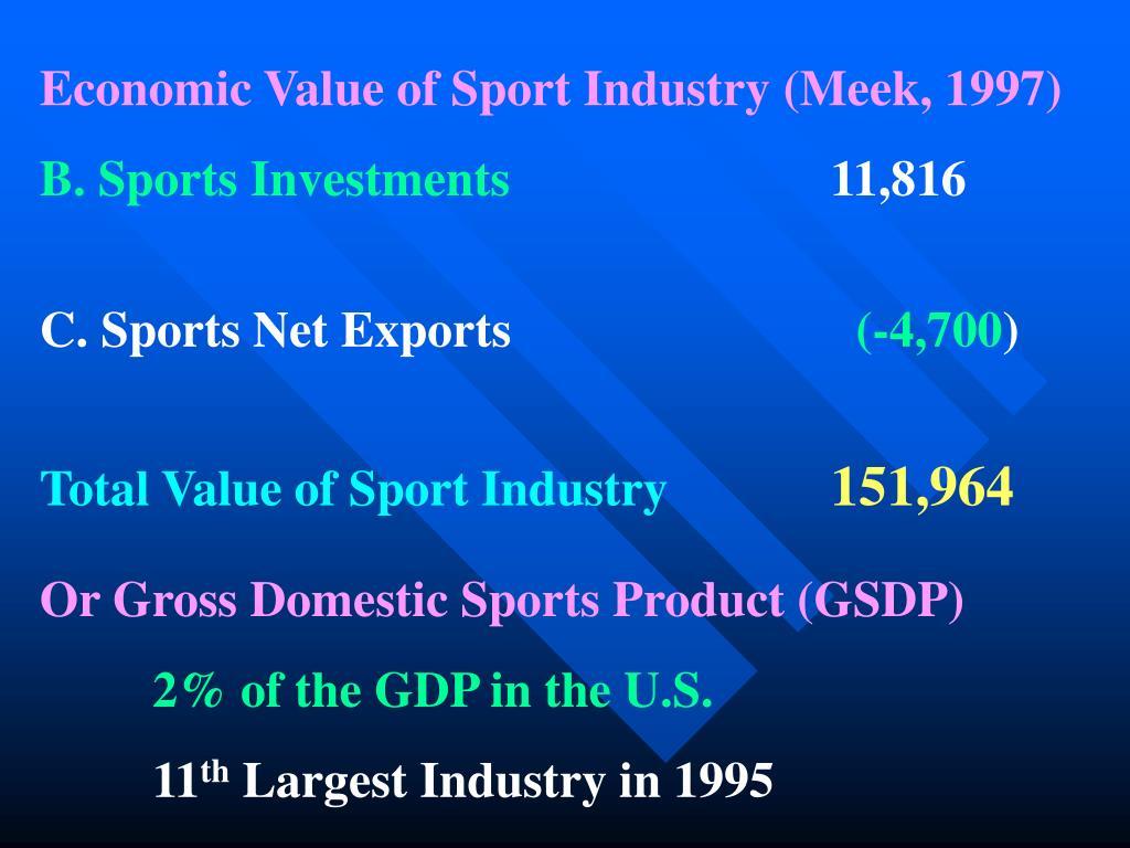 Economic Value of Sport Industry (Meek, 1997)