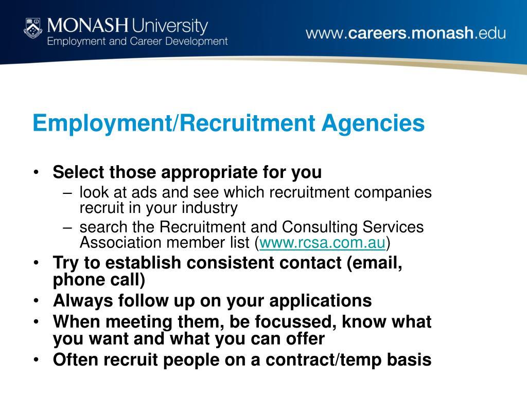 Employment/Recruitment Agencies
