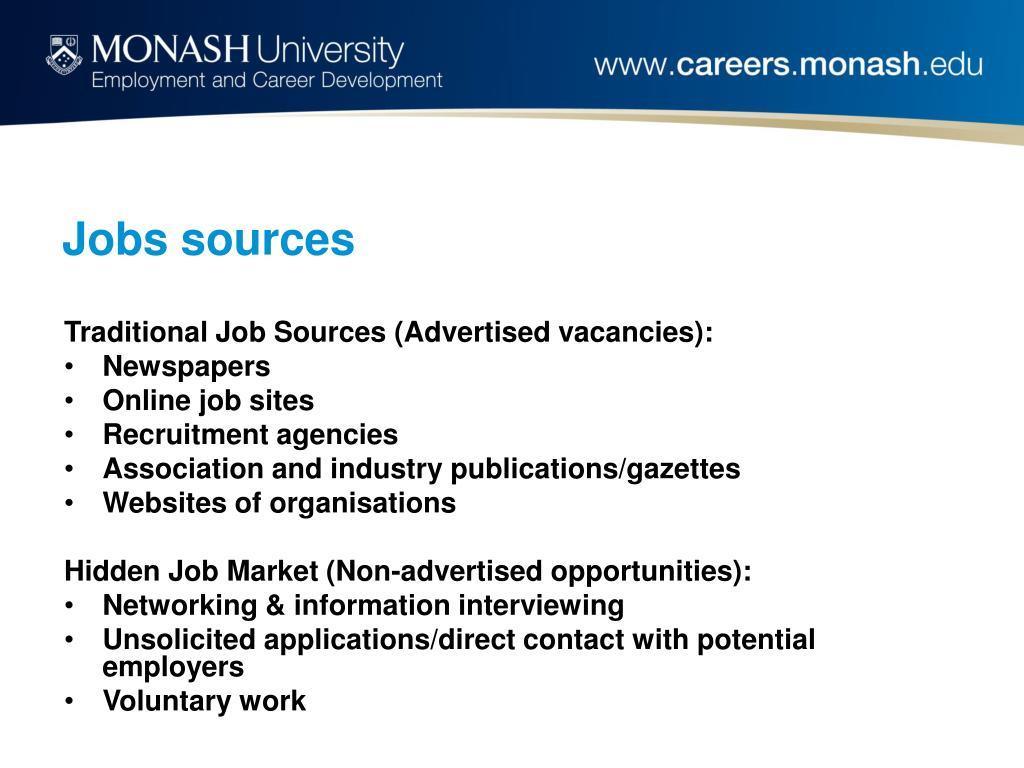 Jobs sources