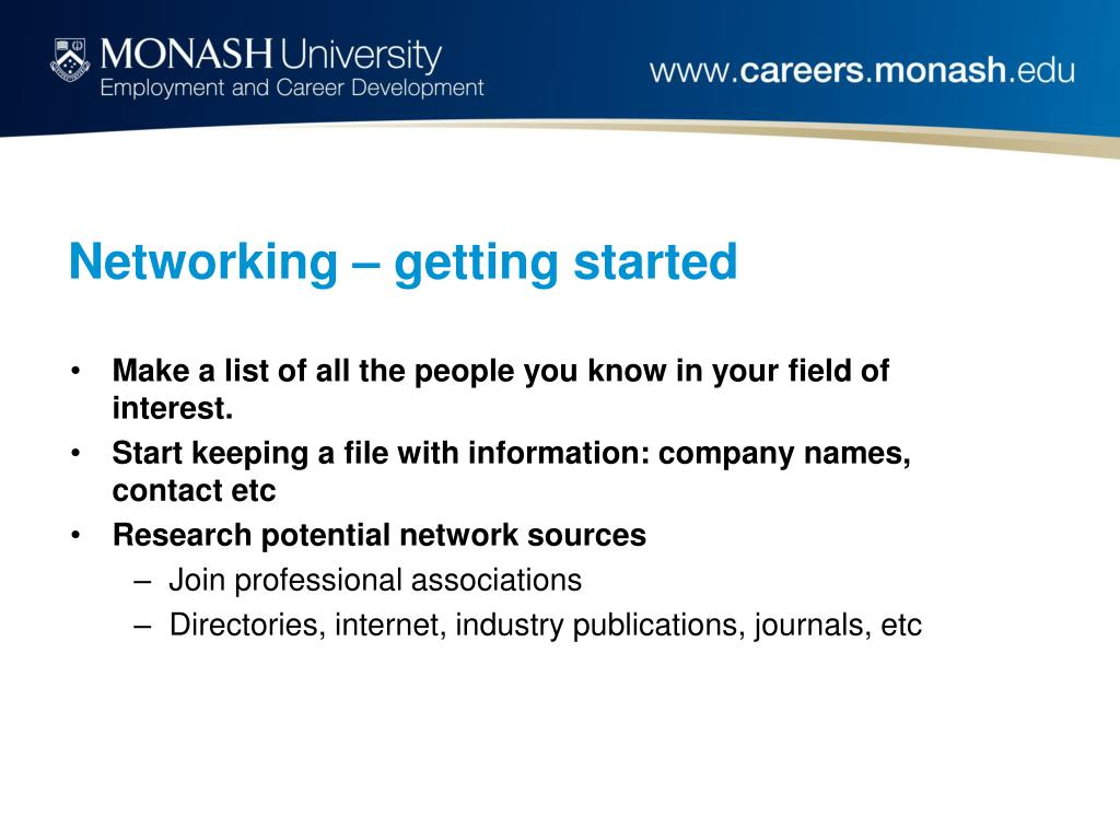 Networking – getting started