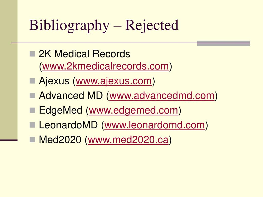 Bibliography – Rejected