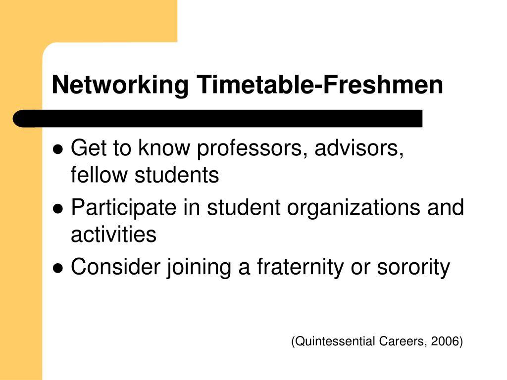 Networking Timetable-Freshmen