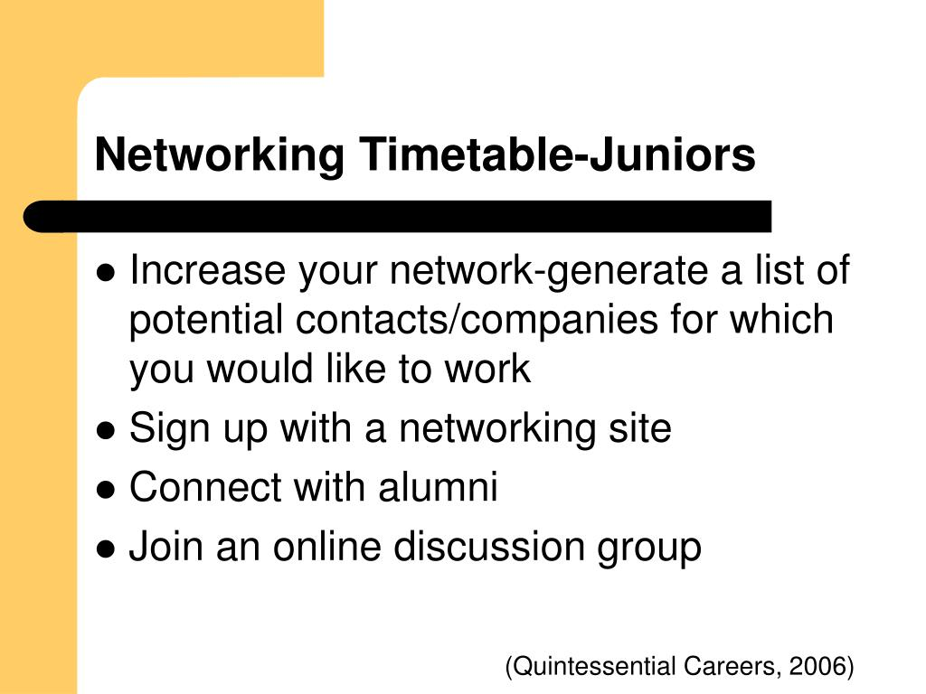 Networking Timetable-Juniors