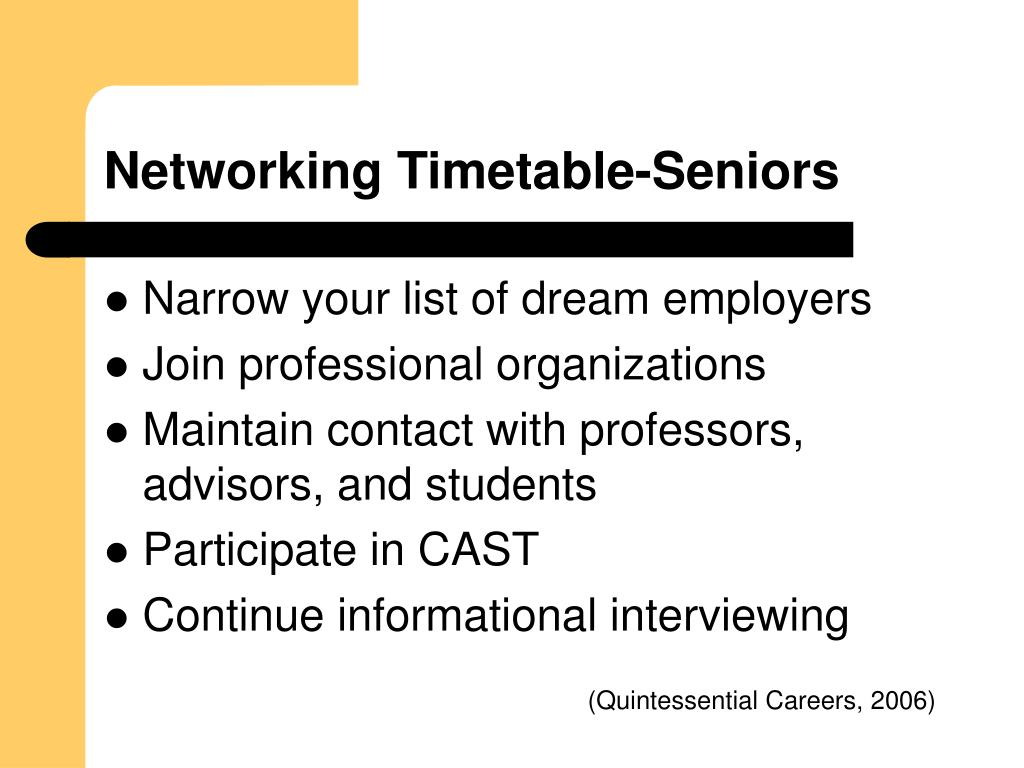 Networking Timetable-Seniors