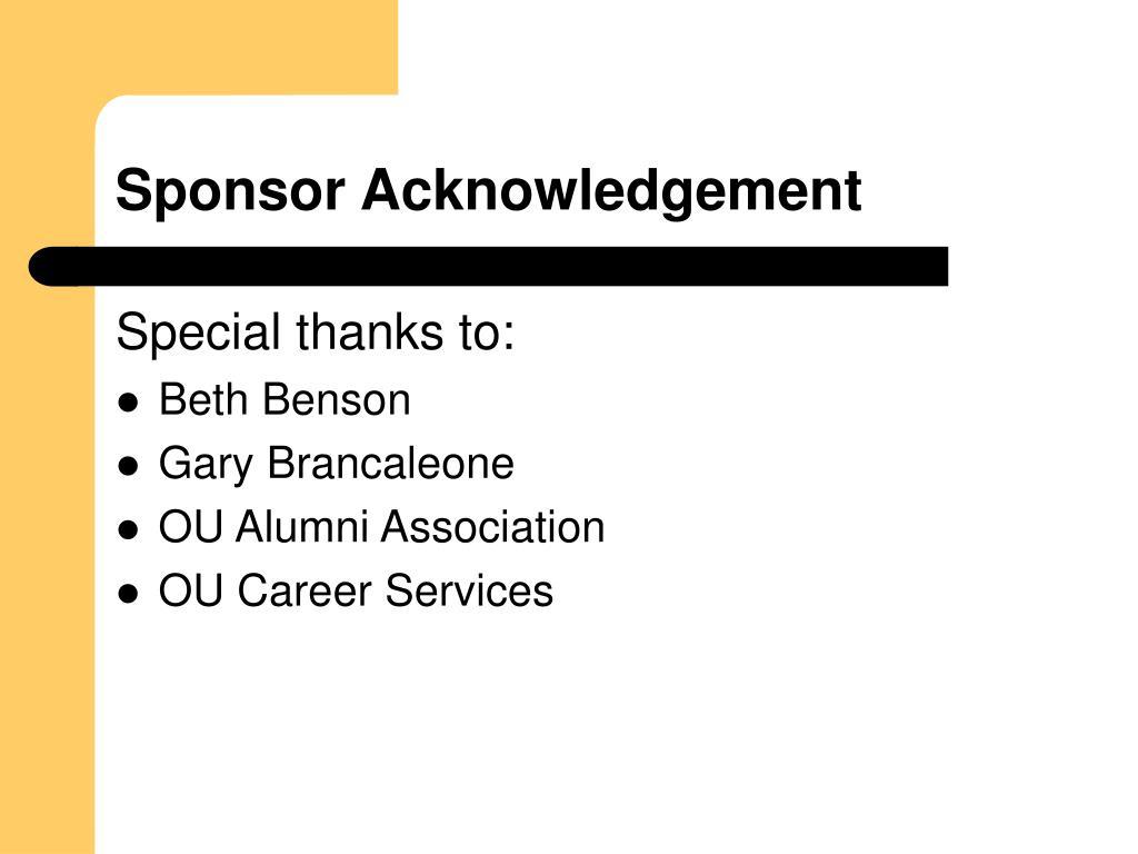 Sponsor Acknowledgement