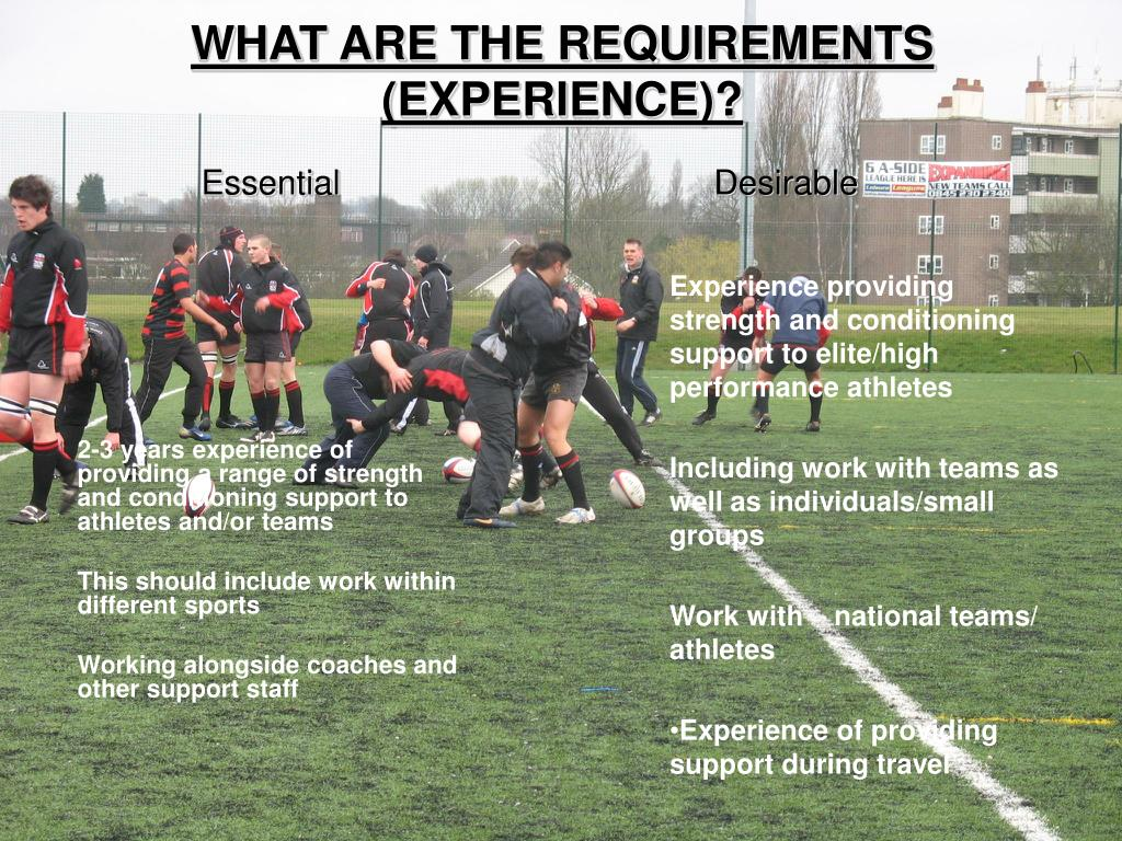 WHAT ARE THE REQUIREMENTS (EXPERIENCE)?