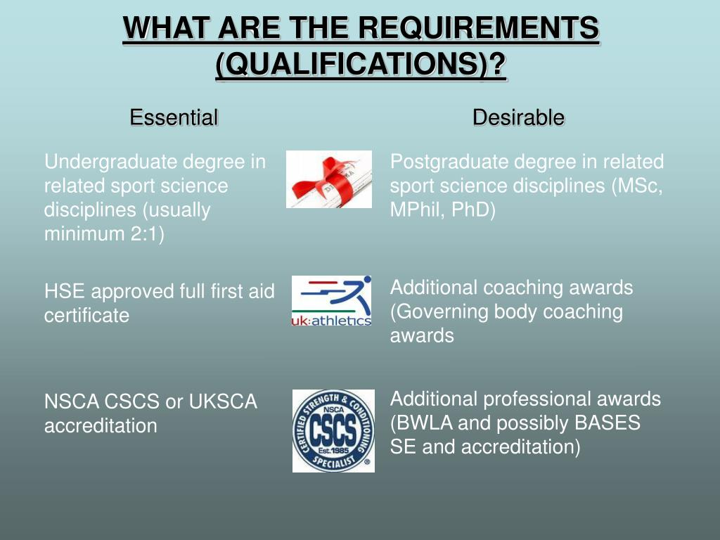 WHAT ARE THE REQUIREMENTS (QUALIFICATIONS)?