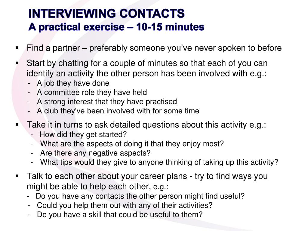 INTERVIEWING CONTACTS