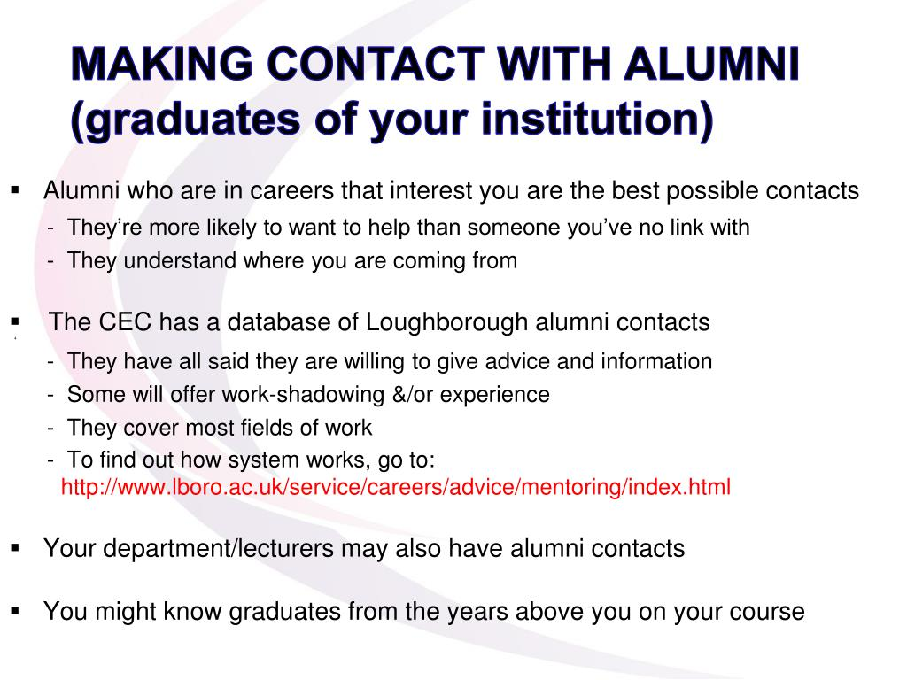 MAKING CONTACT WITH ALUMNI