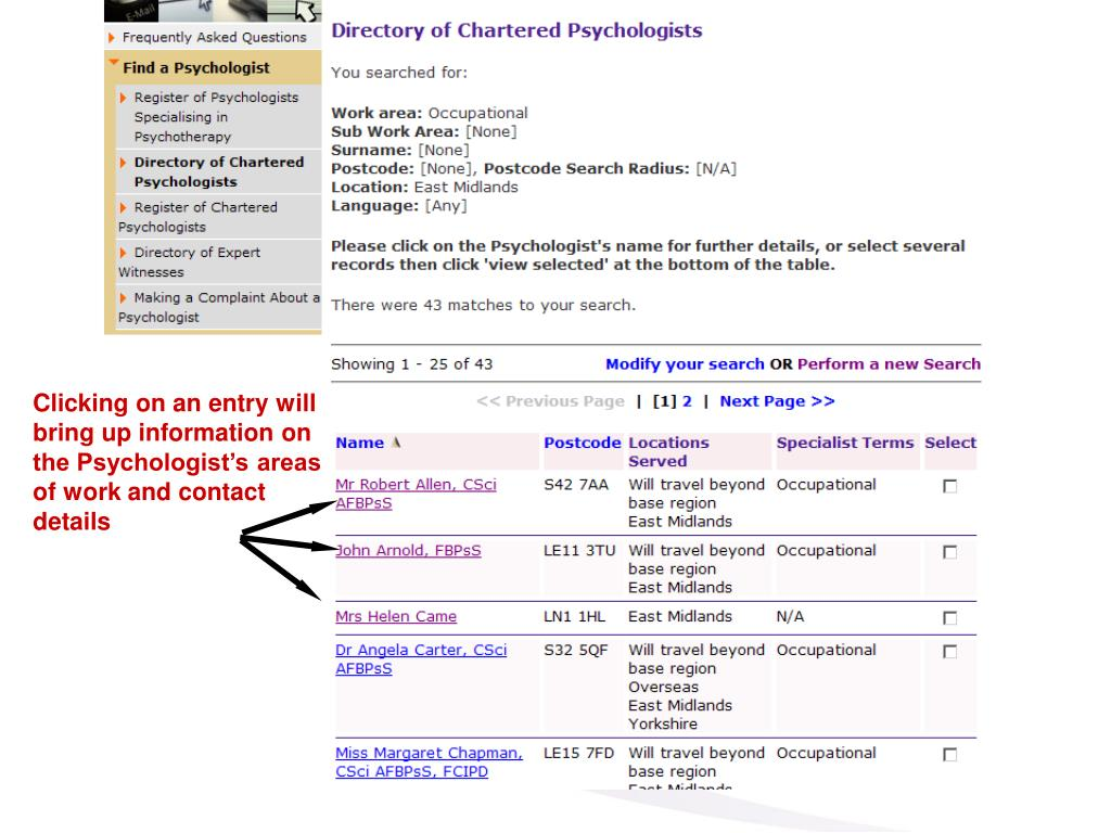 Clicking on an entry will bring up information on the Psychologist's areas of work and contact details