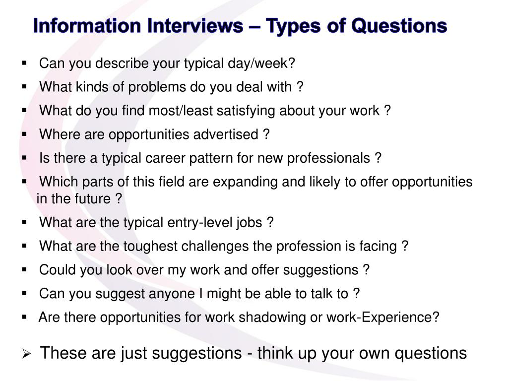 Information Interviews – Types of Questions
