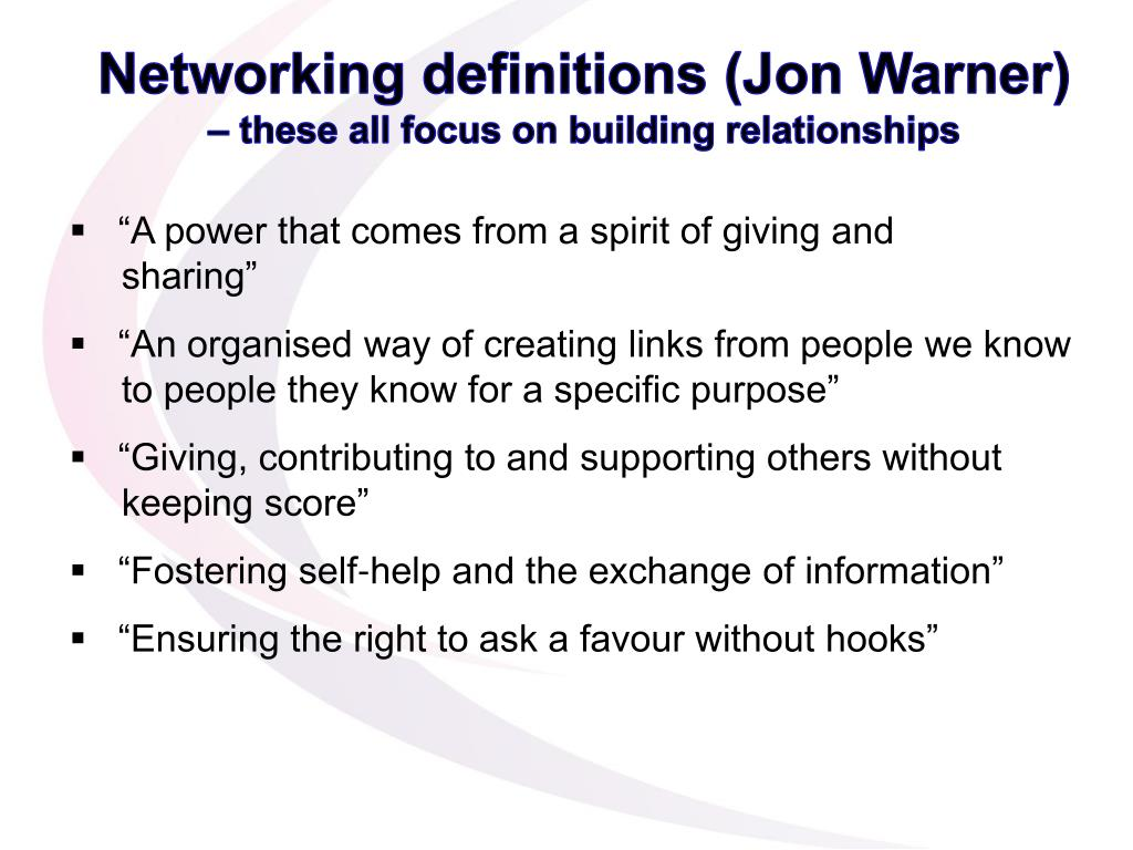 Networking definitions (Jon Warner)