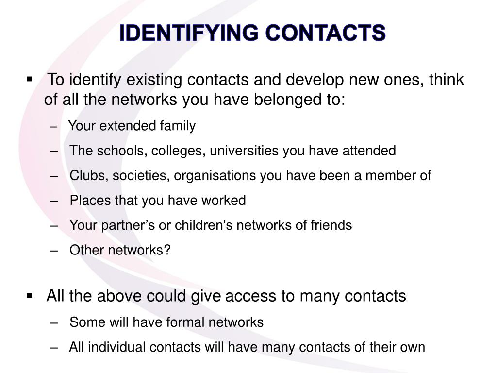 IDENTIFYING CONTACTS