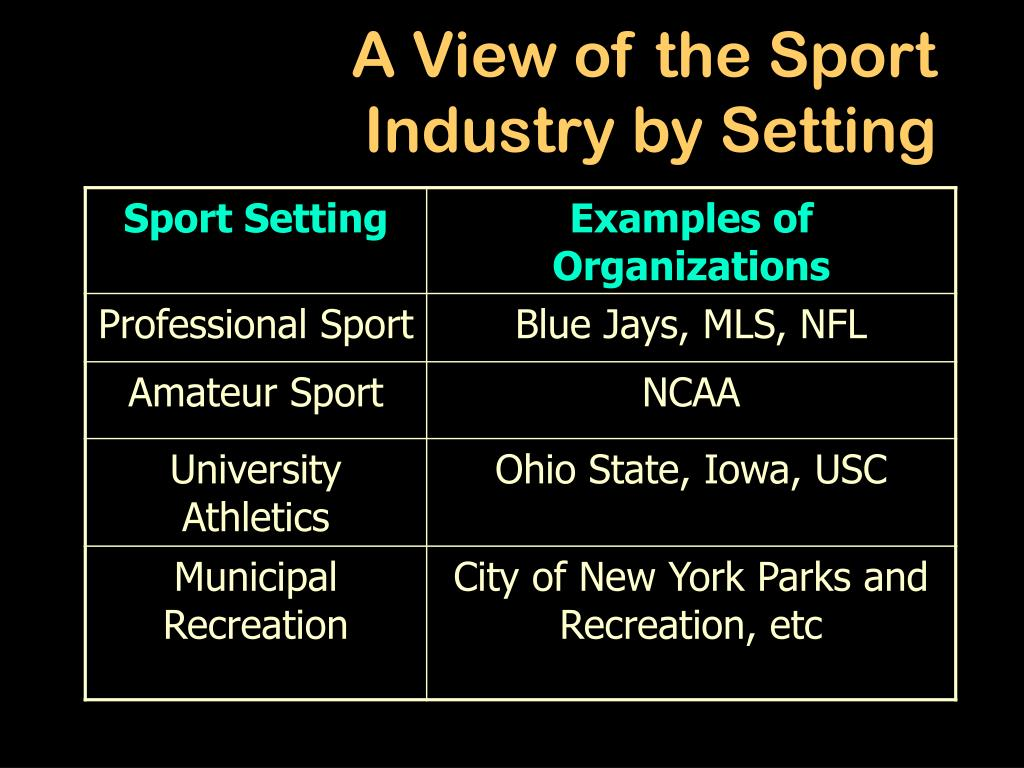 A View of the Sport Industry by Setting