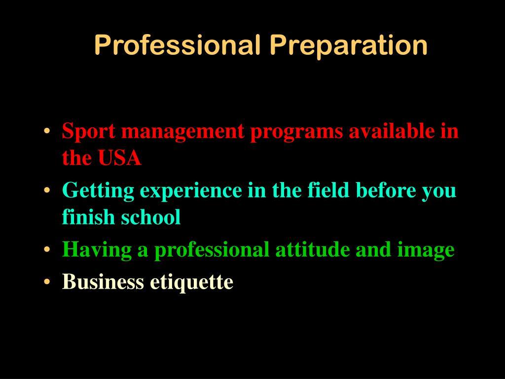 Professional Preparation