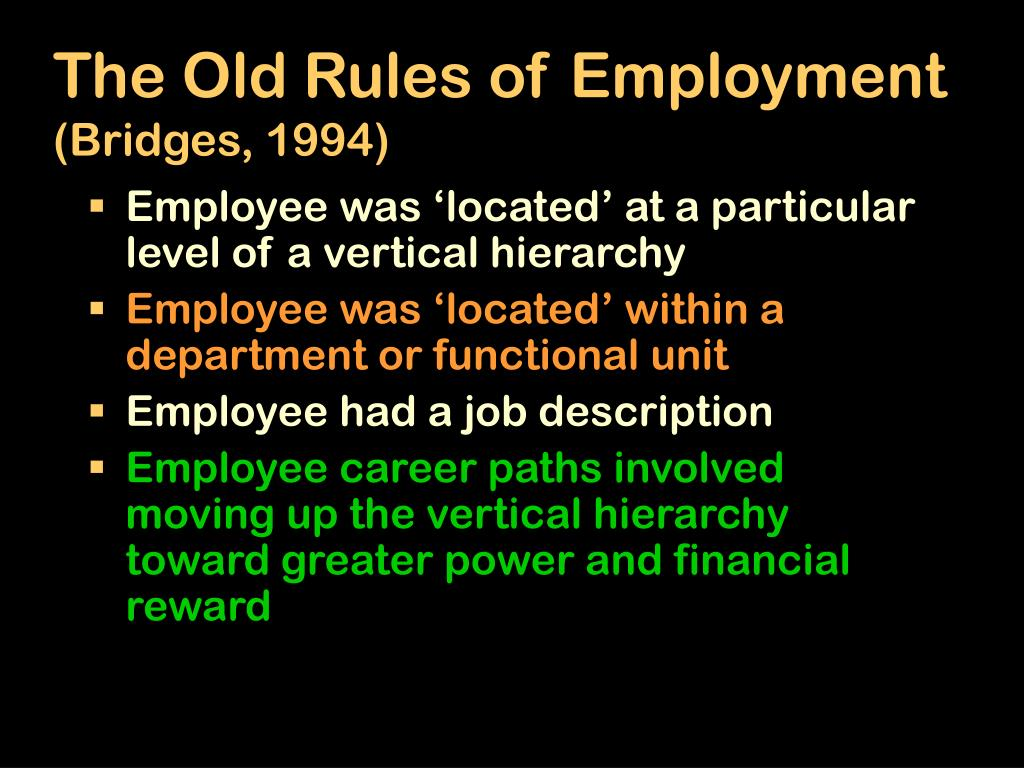 The Old Rules of Employment