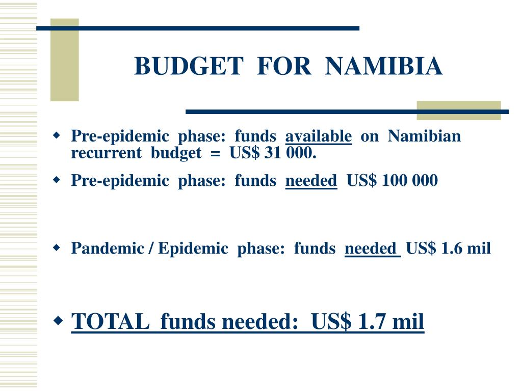 BUDGET  FOR  NAMIBIA