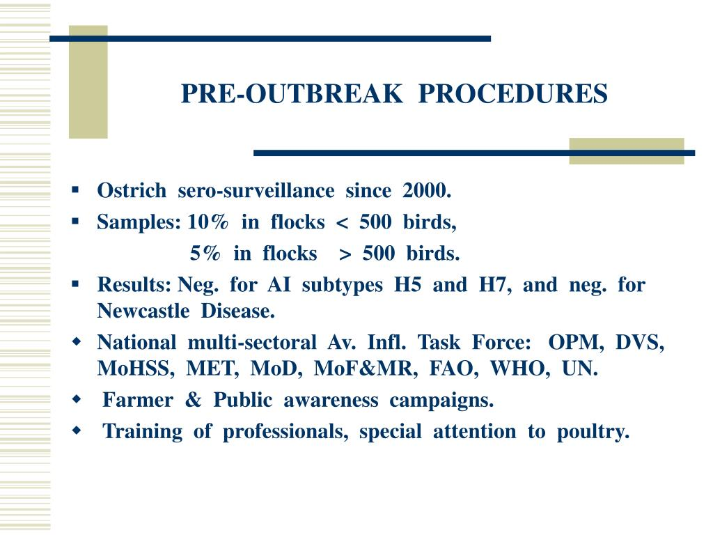 PRE-OUTBREAK  PROCEDURES