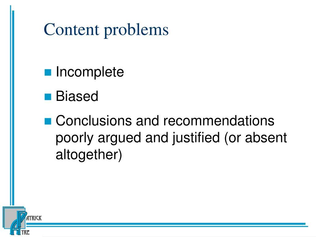 Content problems