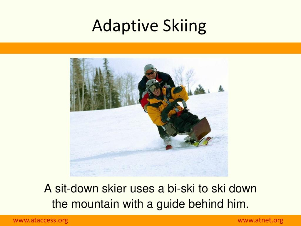 A sit-down skier uses a bi-ski to ski down