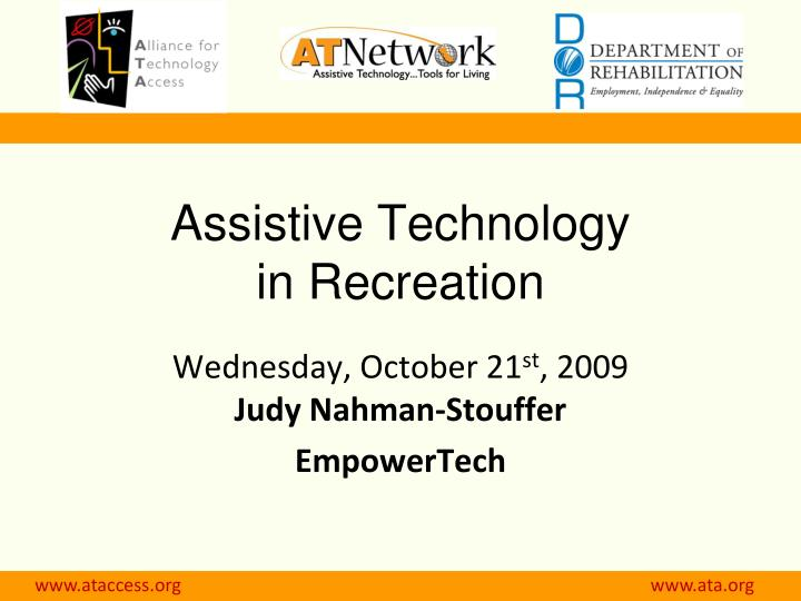 Assistive technology in recreation