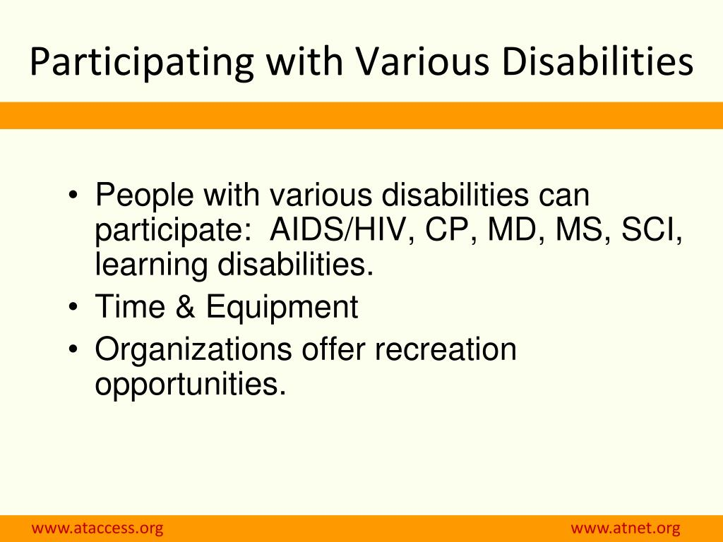 Participating with Various Disabilities
