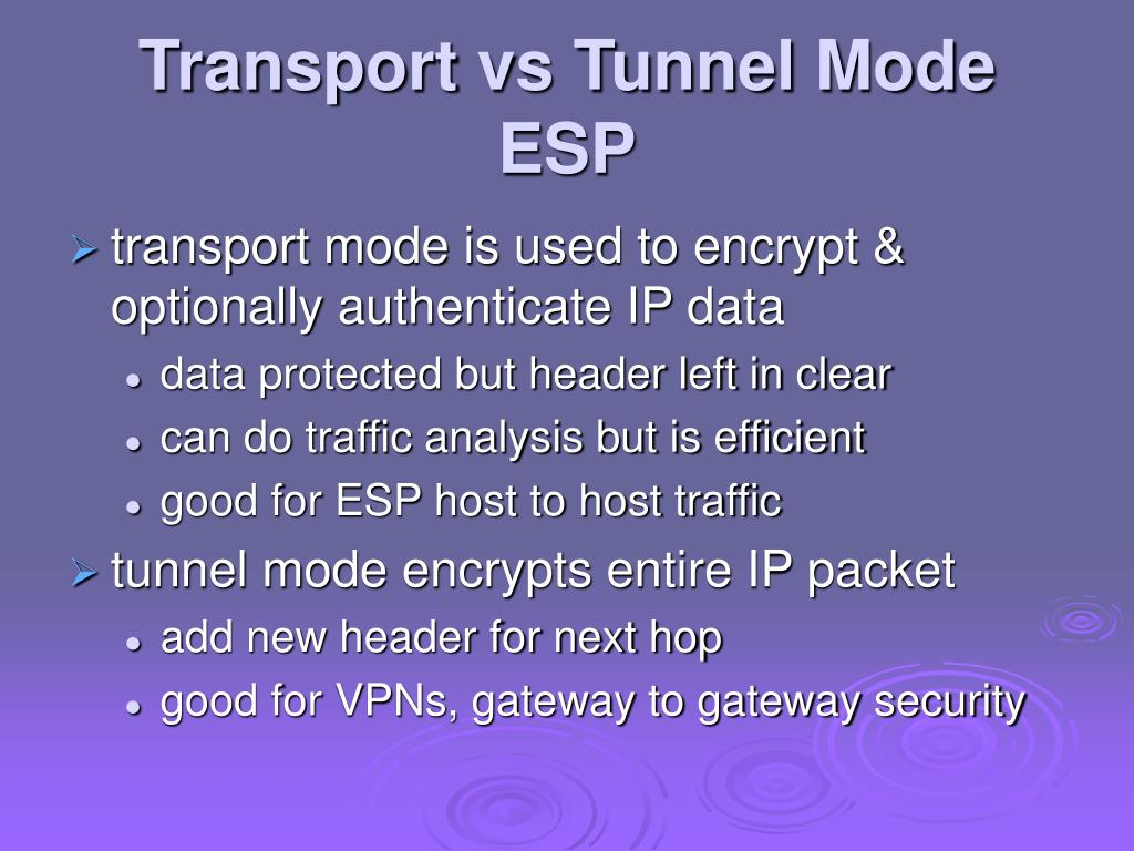 Transport vs Tunnel Mode ESP